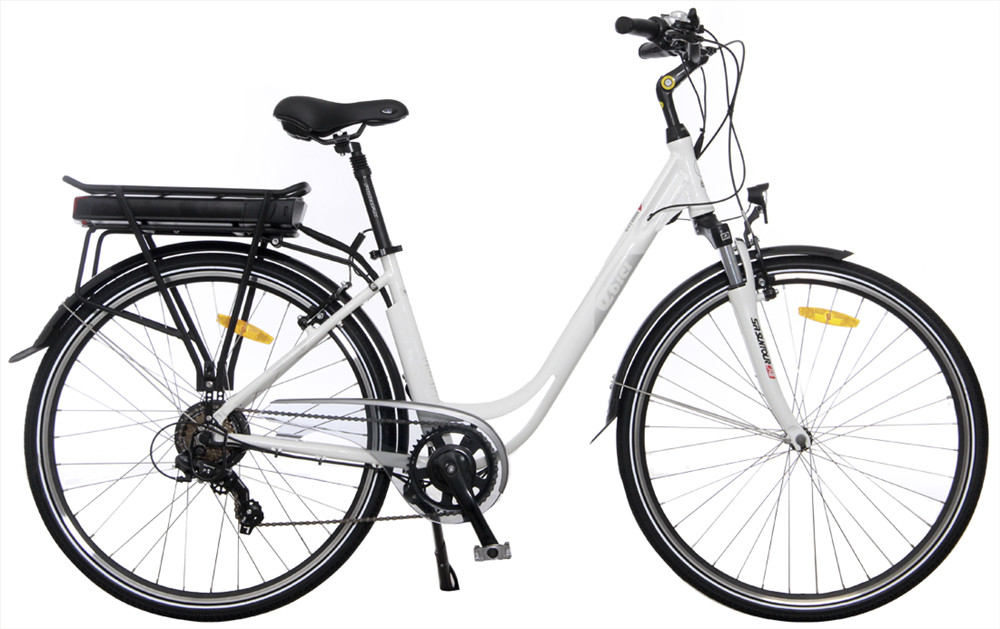 Bicicleta eléctrica para ciudad color blanco