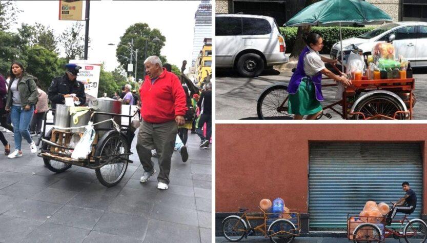 Triciclos de comida en la ciudad de México