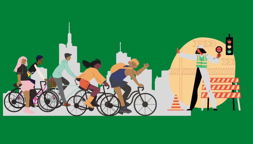 Ilustración Trabajadores Muévete en Bici