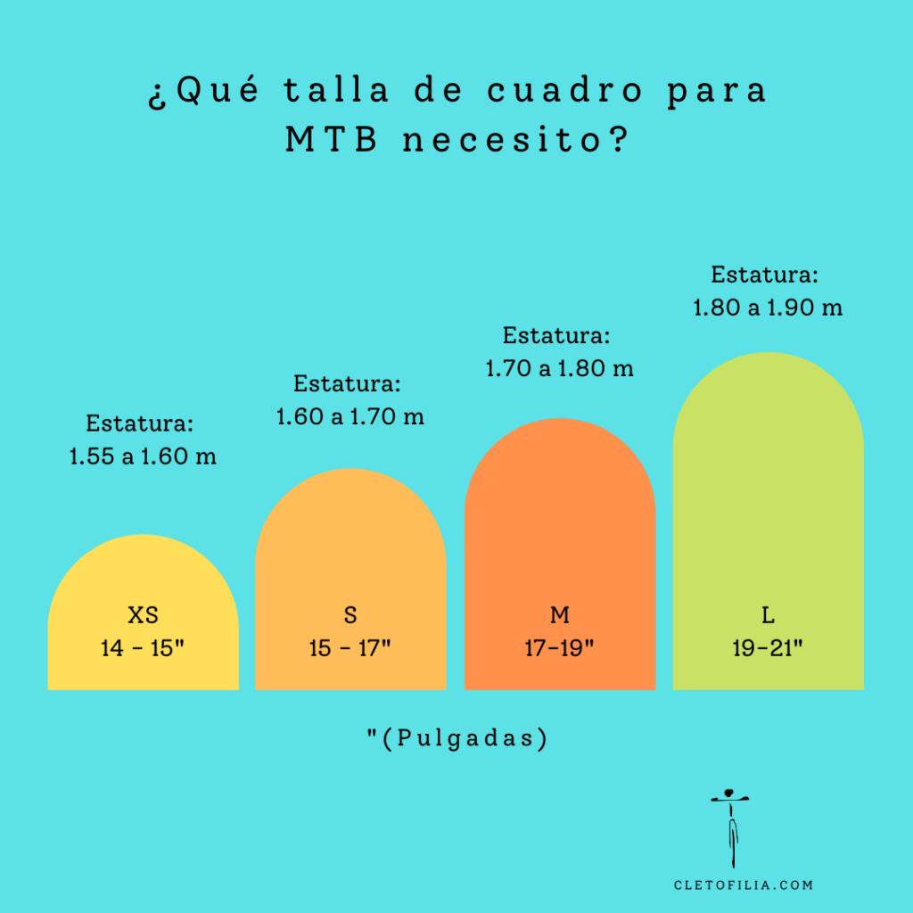 Tabla de medidas para elegir la talla de tu bicicleta de montaña